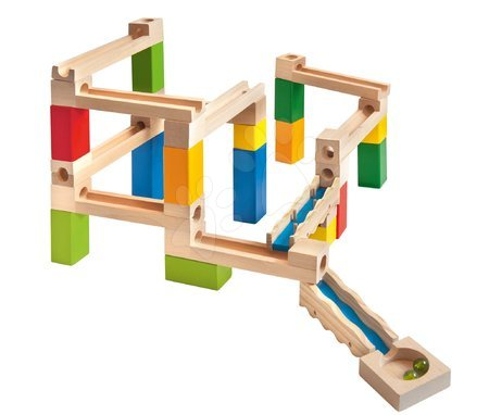 Jucării din lemn  - Joc de construit din lemn labirint Large Marble Run Construction Set Eichhorn cu biluțe 35 piese