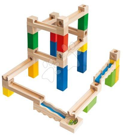 Jucării din lemn  - Joc de construit din lemn labirint Large Marble Run Construction Set Eichhorn cu biluțe 35 piese_1