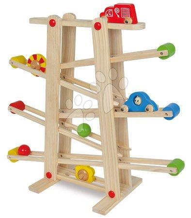 Jucării din lemn  - Pistă de mașini din lemn cu biluțe Runway Eichhorn 7 piese cu 2 mașinuțe de la 12 luni