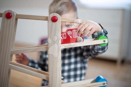 Jucării din lemn  - Pistă de mașini din lemn cu biluțe Runway Eichhorn 7 piese cu 2 mașinuțe de la 12 luni_1