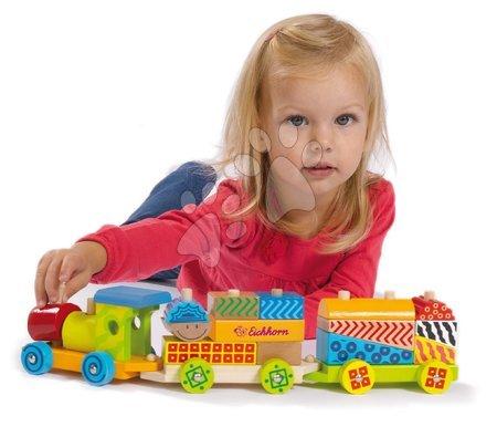 Dřevěné stavebnice - Dřevěný vláček s kostkami Color Small Train Eichhorn lokomotiva s 2 vagony 18 dílů od 12 měsíců_1