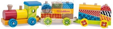 Dřevěné stavebnice - Dřevěný vláček s kostkami Color Small Train Eichhorn lokomotiva s 2 vagony 18 dílů od 12 měsíců