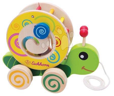 Ťahacie hračky - Drevený didaktický slimáčik na ťahanie Color Pull along Stacking Animal Eichhorn 4 vkladacie kocky od 12 mes_1