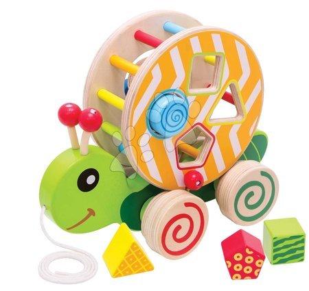 Ťahacie hračky - Drevený didaktický slimáčik na ťahanie Color Pull along Stacking Animal Eichhorn 4 vkladacie kocky od 12 mes