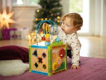 Jucării din lemn  - Cub didatic din lemn cu labirint și activități Color Little Game Center Eichhorn cu 5 forme care se pot introduce în orificii de la 12 luni_1