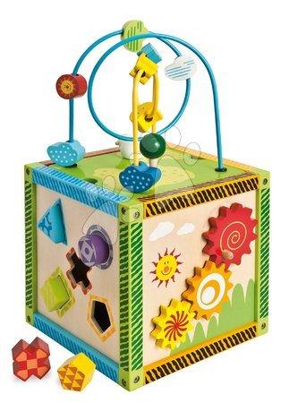 Jucării din lemn  - Cub didatic din lemn cu labirint și activități Color Little Game Center Eichhorn cu 5 forme care se pot introduce în orificii de la 12 luni