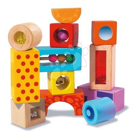 Dřevěné stavebnice - Dřevěné kostky se zvukem Color Tinkling Blocks Eichhorn barevné 12 kusů od 12 měsíců