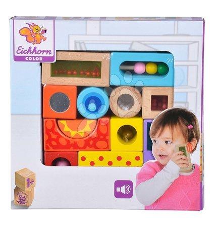 Dřevěné stavebnice - Dřevěné kostky se zvukem Color Tinkling Blocks Eichhorn barevné 12 kusů od 12 měsíců_1