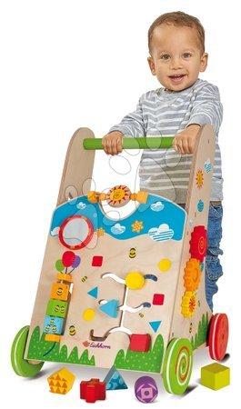 Dětská chodítka - Dřevěné didaktické chodítko Color Activity Walker Eichhorn s různými aktivitami a 5 kostkami od 12 měsíců_1