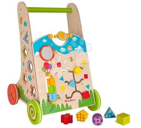 Dětská chodítka - Dřevěné didaktické chodítko Color Activity Walker Eichhorn s různými aktivitami a 5 kostkami od 12 měsíců