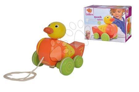 Ťahacie hračky - Drevená kačička na ťahanie Pull along Animal Duck Eichhorn so zvukom a pohyblivými časťami od 12 mes_1