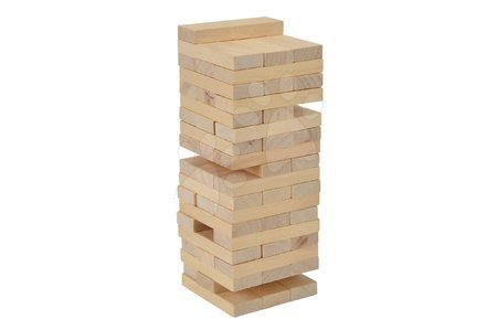 Jocuri de societate - Joc de societate din lemn turn asamblabil Wooden Tumbling Tower Eichhorn 54 cuburi bej de la 5 ani