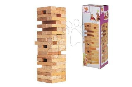 Jocuri de societate - Joc de societate din lemn turn asamblabil Wooden Tumbling Tower Eichhorn 54 cuburi bej de la 5 ani_1