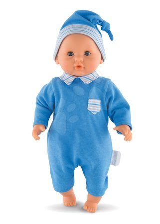 Bábiky od 18 mesiacov - Bábika Bébé Calin Maël Corolle s modrými klipkajúcimi očami a fazuľkami 30 cm od 18 mes