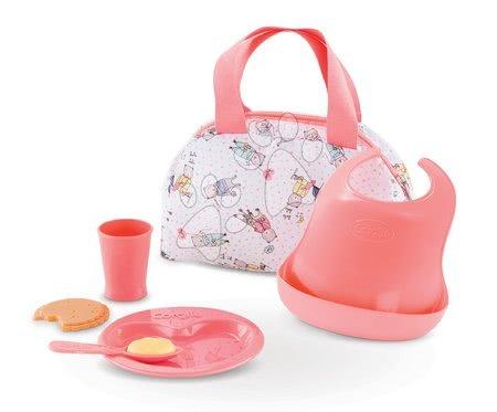 Dodatki za punčke in dojenčke - Jedilni set s torbico Mealtime set Mon Grand Poupon Corolle za 36-42 cm dojenčka od 24 mes