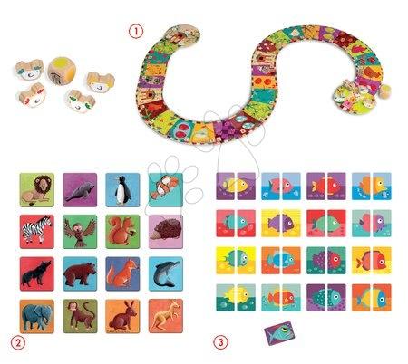 Sada spoločenských hier Domino - Hot Piranha Game - Chicken Run Game Set 3v1 Janod od 3 rokov