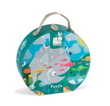 Dětské puzzle do 100 dílků - Puzzle Oceán s rybami Janod v kulatém kufříku 24 dílů od 3 - 6 let