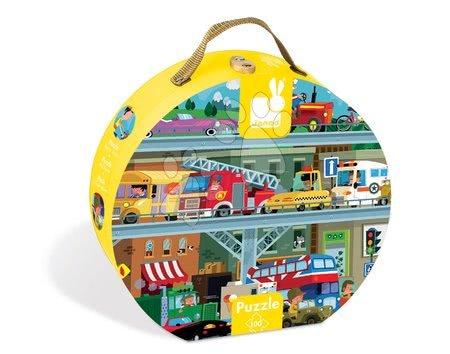 Puzzle Vozidlá Janod v okrúhlom kufríku 100 dielov od 5 - 8 rokov