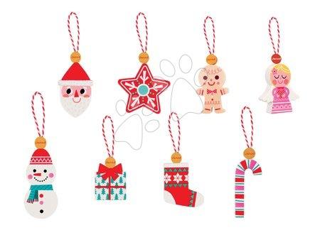 Drevené ozdoby na vianočný stromček Janod so šnúrkou na zavesenie v darčekovom balení 8 ks