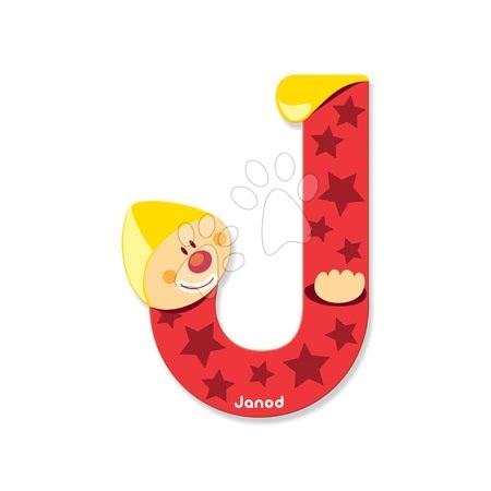 Drevené písmeno J Clown Letter Janod lepiace 9 cm červené od 3 rokov