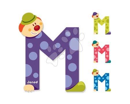 Drevené písmeno M Clown Letter Janod lepiace 9 cm modré/zelené/fialové/ružové od 3 rokov