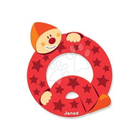 Drevené písmeno Q Clown Letter Janod lepiace 9 cm červené od 3 rokov