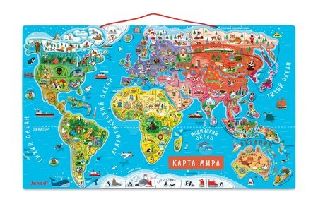 Magnetická mapa světa Magnetic World Map ruská verze Janod 92 magnetů od 5 let