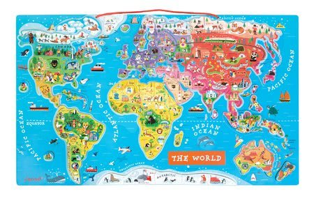 Magnetická mapa sveta Magnetic World Puzzle English Version Janod 92 magnetov od 5 rokov