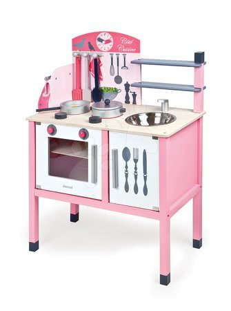 Drevená kuchynka Mademoiselle Maxi Cooker Janod s 8 doplnkami ružová