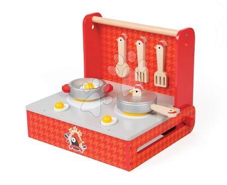 Janod - Dřevěná magnetická kuchyňka Francouzský kohout Janod v kufříku se 7 doplňky