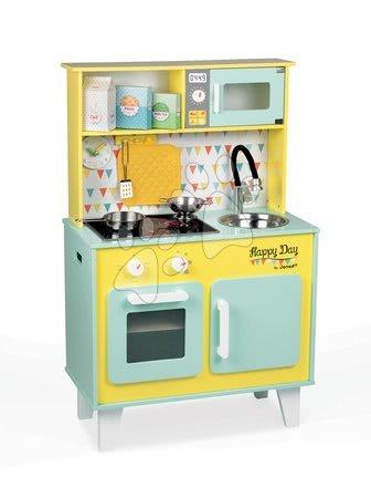 Elektronická dřevěná kuchyňka Happy day Janod se zvukem a světlem a 7 doplňky zeleno-žlutá