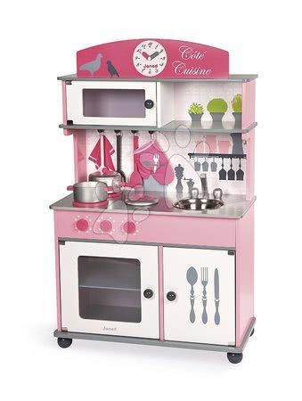 Drevené kuchynky - Set drevená kuchynka Cote Janod ružová na kolieskach a kočík s bábikou_1
