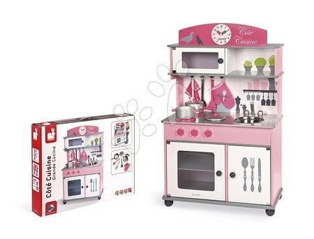 Drevené kuchynky - Drevená kuchynka Cote Janod ružová na kolieskach s otočnými gombíkmi so zvukom a 8 doplnkami od 3 rokov_1