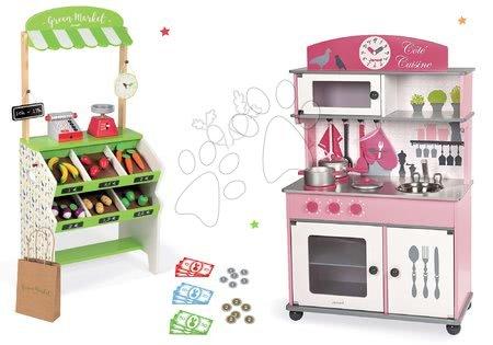 Set dřevěná kuchyňka Cote Janod růžová na kolečkách, obchod s pokladnou a potravinami