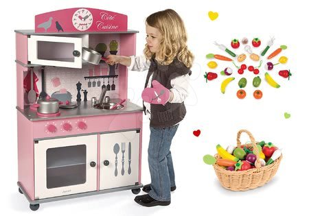 Set dřevěná kuchyňka Cote Janod růžová na kolečkách, dřevěné ovoce a zelenina v košíku