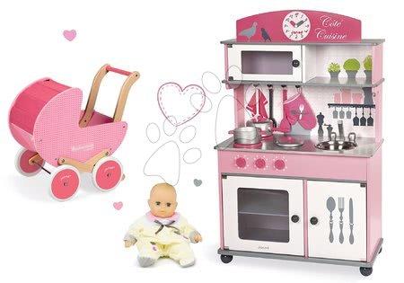 Set dřevěná kuchyňka Cote Janod růžová na kolečkách a kočárek s panenkou
