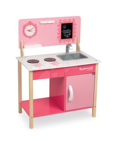 Dřevěná kuchyňka My first Mademoiselle Cooker Janod s otočnými knoflíky růžová od 3 let