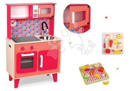 Drevené kuchynky - Set drevená kuchynka Spicy Cooker Janod červená a drevené ovocie a zelenina