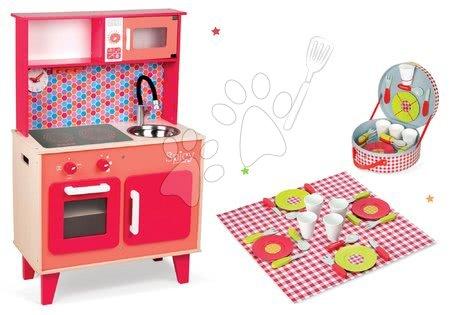 Set dřevěná kuchyňka Spicy Cooker Janod červená a jídelní souprava v kufříku