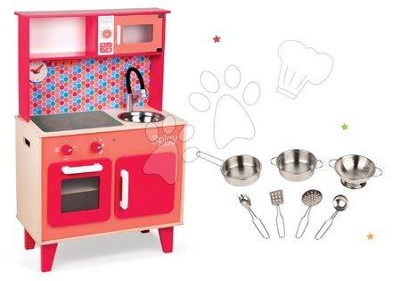 Drevené kuchynky - Set drevená kuchynka Spicy Cooker Janod červená a pochrómovaný riad 7 kusov