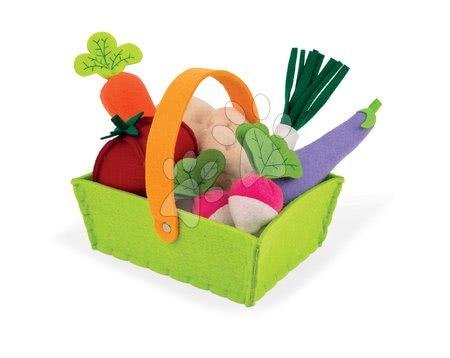 Textilný košík Janod plstený s 8 druhmi zeleniny od 24 mes