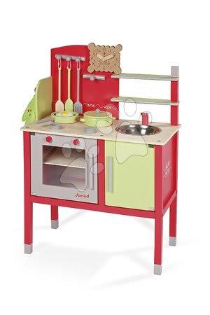 Drevené kuchynky - Drevená kuchynka Buscuit Janod červeno-zelená so 6 doplnkami od 3 rokov