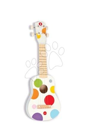 Detské hudobné nástroje - Drevené ukulele Confetti Ukulele Janod s realistickým zvukom