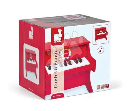 Detské hudobné nástroje - Drevený klavír Confetti Red Piano Janod s realistickým zvukom od 3 rokov_1