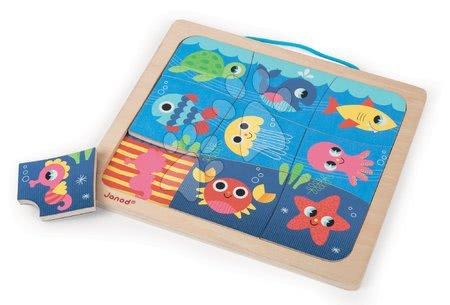 Drevené magnetické puzzle Happy Fish Magneto Janod 9 dielov od 18 mes