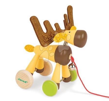 Ťahacie hračky - Drevený Sob Zigolos Janod na kolieskach so zvončekom od 12 mes