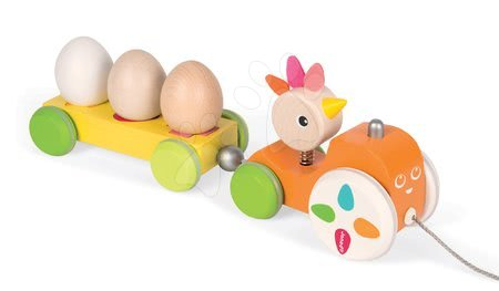 Drevený magnetický traktor Janod na ťahanie so sliepkou a vajíčkami od 12 mes