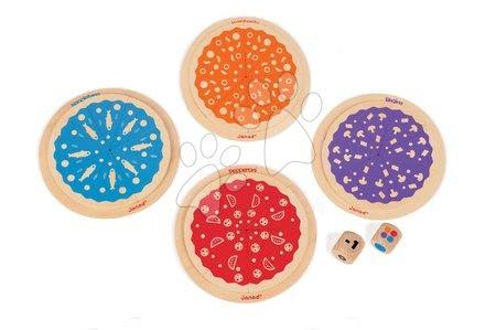 Spoločenské hry - Drevená spoločenská hra Pizza 123 Janod so 4 pizzami v angličtine od 3 rokov_1