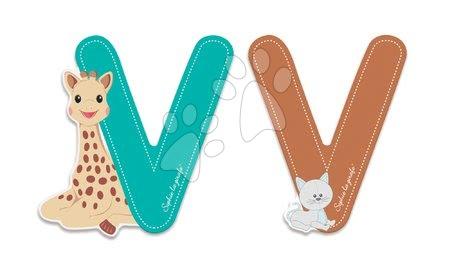 Dřevěné písmeno V Sophie The Giraffe Janod lepící 7 cm tyrkysové/hnědé od 3 let