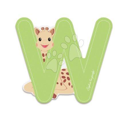 Dřevěné písmeno W Sophie The Giraffe Janod lepící 7 cm zelené od 3 let
